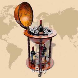 Antique Wood Globe Mini Bar Glass Cabinet Vintage Wine Container Wheel Furniture