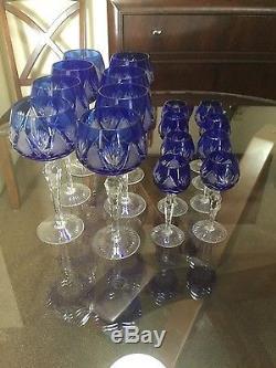 Antique colbat cut glass, wine glasess