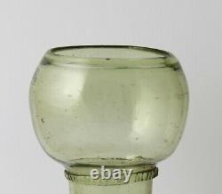Antique, early 18th C White Wine Glass, Roemer Rummer, pruns, threaded foot