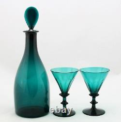 Antique early 19th C. Emerald green crystal White Wine Decanter & 2x Glass