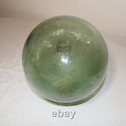 Antique hand blown rounded bottom green glass wine bottle decanter flask