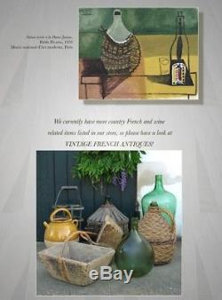 Authentic Vintage French Dark Green Glass Demijohn Bonbonne Wine Bottle Raffia
