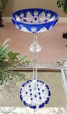 BACCARAT Vintage CZAR Cobalt Blue Cut to Clear Crystal Wine Champagne Saucer