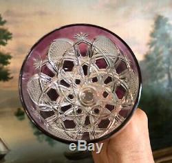 BACCARAT Vintage CZAR TSAR 10.5 Tall AMETHYST Cut to Clear Crystal Goblet