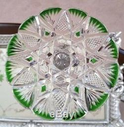 BACCARAT Vintage CZAR TSAR 14 Tall Green Cut to Clear Crystal Wine Water Goblet