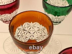Baccarat Bellinzona 6 Vintage Multi Color Cut To Clear Crystal 4 OZ Wine Glasses