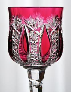 Baccarat Conde Cranberry Rose Cut to Clear Cased Crystal Wine Goblet Vintage