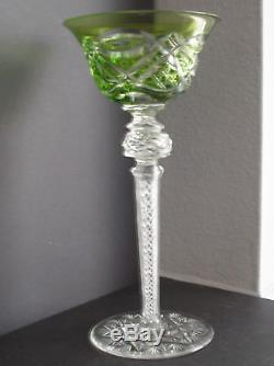 Baccarat Val St Lambert Vintage Emerald Cased Cut Clear Wine Goblet