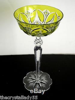 Baccarat Val St Lambert Vintage Lime Paridot Cased Cut Clear Wine Goblet