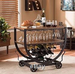 Bar Cart Serving Carts Wine Storage Glass Rack Wheel Rolling Vintage Industrial