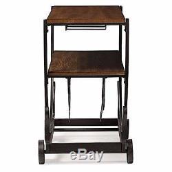 Bar Cart Serving Carts Wine Storage Glass Rack Wheel Rolling Vintage Industrial