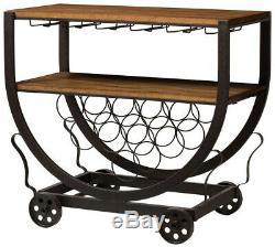 Bar Rack Cart Vintage industrial Metal with Wine Glass Storage, Brown and Bronze