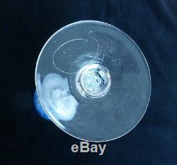 Beautiful Vintage Josh Simpson Deep Blue Wine Glass Signed 1979 Art Glass