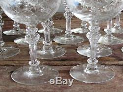 Beautiful Vtg Set Of 17 Etched Cut Crystal Wine-champagne-water Goblets-glasses