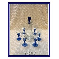 Bohemia Czech Republic Vintage Crystal WithBlue Decanter & 6 Wine/Shot Glasses