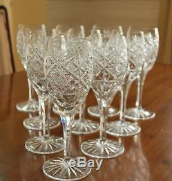 Bohemian Crystal wine glasses cut glass set 10 clear vintage 6.5 Czech
