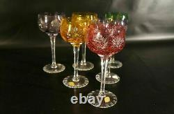 Bohemian Czech Vintage Crystal Cut To Clear Wine Glasses Set of 6