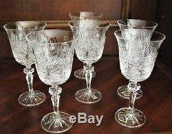 Bohemian Czech Vintage Crystal Wine Glass 220 ml set of 6 Hand Cut Queen Lace