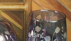Bohemian Glass Vintage Etched Violet / Blue Wine Decanter & 2 Glasses Goblets