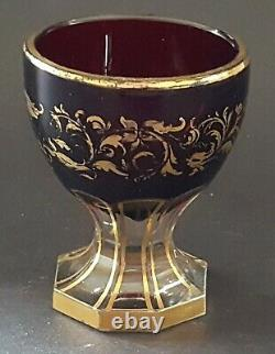 Bohemian red & gold cut glass vintage Victorian antique octagonal foot glass