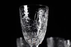 Breathtaking Seneca Berkeley Set of Four Floral Cut Claret Wine Goblets Stems