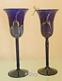 CORREIA Pair of Wine Goblets Cobalt Blue w silver & gold design 10 VINTAGE 1980