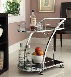 Cart Serving Bar Vintage Tray Roll Glass Chrome Drink Wine Tea Beverage Kitchen