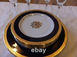 Collectable Vintage POLO Gold Rimed set of 12 8 plates 4 wine glass