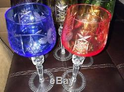 Crystal Colored Cut To Clear Hock Wine Glasses Set Of 5