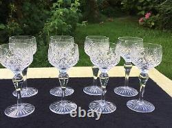 Cut Crystal Hock wine glass x 8 Glasses vintage retro 17.4 cm high