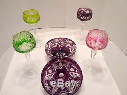 Cut Vintage Fine Crystal Multi Colored 5 Piece Beautiful Set