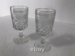 Diamond Glass Crystal Starburst Sunburst Goblet Vintage Mid Century Modern Clear