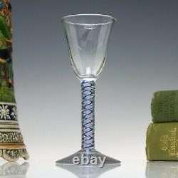 Dutch 18th Century Blue Colour Opaque Twist Wine Glass c1760