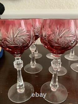 Eight Vintage Bohemian Czech Cranberry Red to Clear Cut Glass Wine Glasses Excel