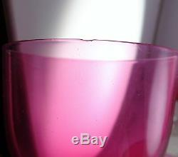 Eight Vintage Cranberry Red Crystal Glass Small Wine Goblets