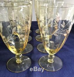 Elegant Glasses Amber Wine Water Goblets 8 Engraved Flowers Fluted Vintage 03746