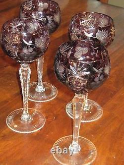Elegant Vintage Amethyst cut glass glasses