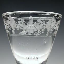 Engraved Antique 18th Century Hollow Stem Wine Glass c1750