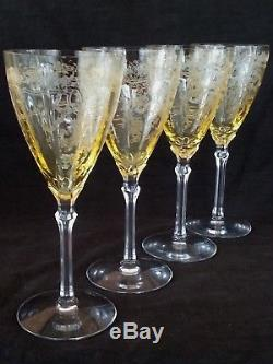 Exquisite antique etched yellow to clear wine glasses set of 4, 8.37 inches