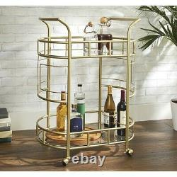 Fitzgerald 2-Tier Portable Bar Cart with 3 Built-in Wine Bottle Holder, Gold