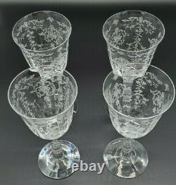 Fostoria Etched Crystal Navarre 7 5/8 Water Wine Goblets Glasses 1930's Vintage