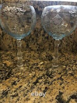 Fostoria Navarre Blue Magnum Wine Glass Vintage Etched Stemware (2 Stems Left)