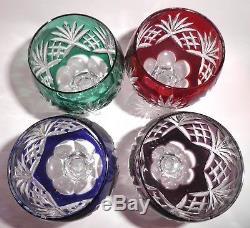 Four Vintage Czech Bohemian Cut To Clear Multicolor Wine Hocks Glasses