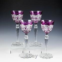 Four Vintage Val St Lambert Rose Verrept Hock Glasses