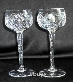 German Hand Cut Lead Crystal tall 6 oz wine goblets 10 glasses faceted stem