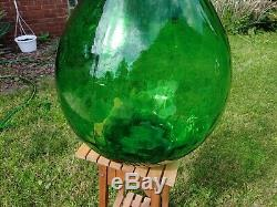 Giant VTG 26 Green Blown Glass Bottle AMBROSIO 54L Demijohn ITALY Wine Making