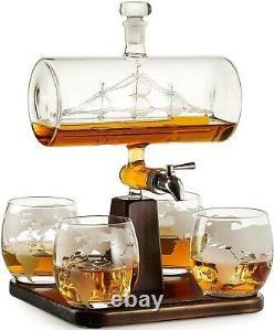 Glass Decanter Crystal Wine Whiskey Bottle Dispenser with 4 Glasses Vintage Boat
