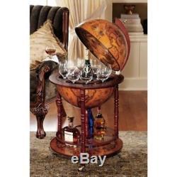 Globe Bar Cabinet Cart Wine Rack Liquor Whiskey Glass Vintage Storage Table