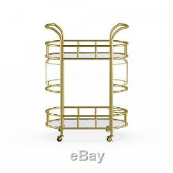 Gold Metal Glass 2-Tier Cocktail Serving Bar Wine Liquor Storage Display Cart