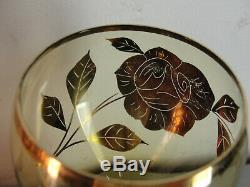Gold Rose Gilded Amber Czech Crystal Art Glass Decanter Red Wine Set Vintage